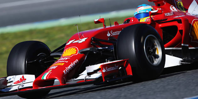 JEREZ DE LA FRONTERA, SPAIN - JANUARY 30:  Fernando Alonso of Spain and Ferrari drives the new F14T during day three of Formula One Winter Testing at the Circuito de Jerez on January 30, 2014 in Jerez de la Frontera, Spain.  (Photo by Mark Thompson/Getty Images)