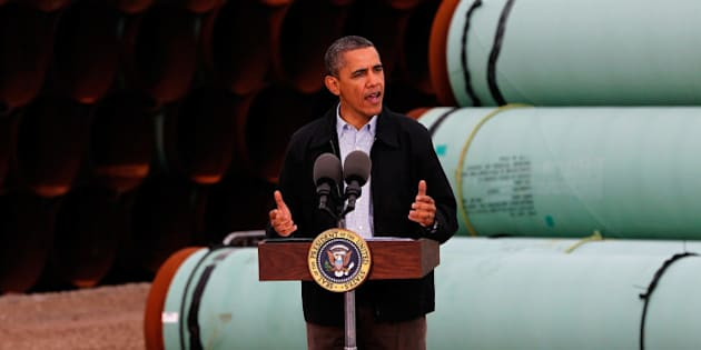 CUSHING, OK - MARCH 22: U.S. President Barack Obama speaks at the southern site of the Keystone XL pipeline on March 22, 2012 in Cushing, Oklahoma. Obama is pressing federal agencies to expedite the section of the Keystone XL pipeline between Oklahoma and the Gulf Coast. (Photo by Tom Pennington/Getty Images)