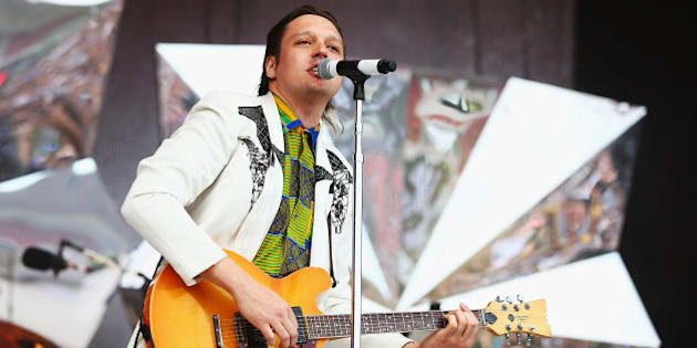 SYDNEY, AUSTRALIA - JANUARY 26:  Win Butler of Arcade Fire performs live for fans during the 2014 Big Day Out Festival on January 26, 2014 in Sydney, Australia.  (Photo by Don Arnold/WireImage)