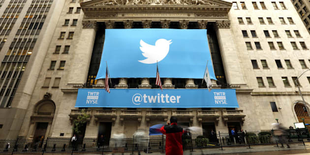 NEW YORK, UNITED STATES - NOVEMBER 7: Twitter shares have closed at $44.90 a share on its first day of trading, 73 percent above its initial offering price on November 7, 2013 in New York. The stock is trading on the New York Stock Exchange under the symbol 'TWTR'.  (Photo By Bilgin S. Sasmaz/Anadolu Agency/Getty Images)