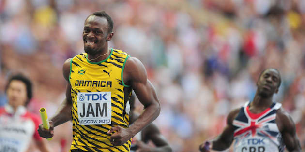 Jamaica's Usain Bolt is all smiles after Jamaica win the Men's 4x100m Relay during day nine of the 2013 IAAF World Athletics Championships at the Luzhniki Stadium in Moscow, Russia.