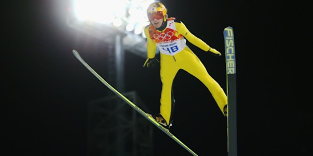 SOCHI, RUSSIA - FEBRUARY 09:  Noriaki Kasai of Japan jumps during the Men's Normal Hill Individual trial on day 2 of the Sochi 2014 Winter Olympics at the RusSki Gorki Ski Jumping Center on February 9, 2014 in Sochi, Russia.  (Photo by Julian Finney/Getty Images)
