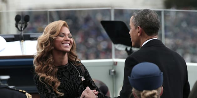 WASHINGTON, DC - JANUARY 21:  U.S. President Barack Obama greets singer Beyonce after she performs the National Anthem during the public ceremonial inauguration on the West Front of the U.S. Capitol January 21, 2013 in Washington, DC.   Barack Obama was re-elected for a second term as President of the United States.  (Photo by Win McNamee/Getty Images)