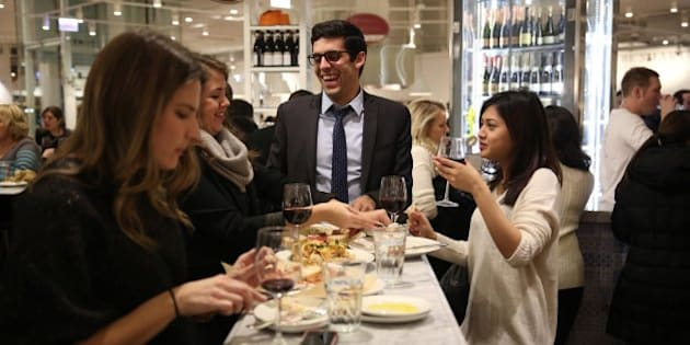 Diners sample the fare at La Piazza in Eataly Chicago, an Italian market with many eating options as well in 63,000 sqare feet. (E. Jason Wambsgans/Chicago Tribune/MCT via Getty Images)