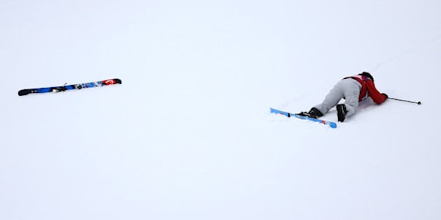SOCHI, RUSSIA - FEBRUARY 11: Kaya Turski of Canada falls during the Freestyle Skiing Ladies' Ski Slopestyle Qualification at Rosa Khutor Extreme Park  on day four of the Sochi 2014 Winter Olympics on February 11, 2014 in Sochi, Russia.  (Photo by Al Bello/Getty Images)