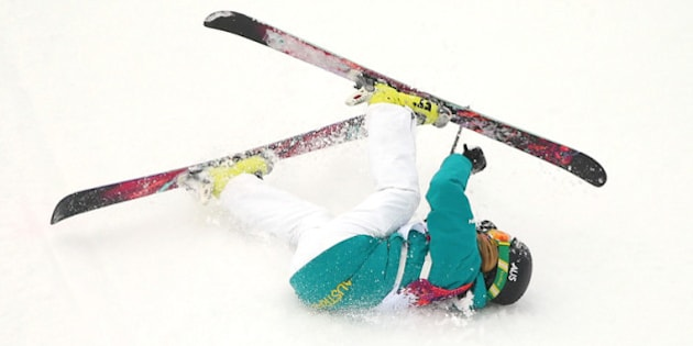 SOCHI, RUSSIA - FEBRUARY 11:  Anna Segal of Australia falls while competing in the Freestyle Skiing Women's Ski Slopestyle Finals on day four of the Sochi 2014 Winter Olympics at Rosa Khutor Extreme Park on February 11, 2014 in Sochi, Russia.  (Photo by Mike Ehrmann/Getty Images)