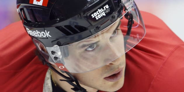 Canada forward Sidney Crosby waits for a pass during a training session at the 2014 Winter Olympics, Monday, Feb. 10, 2014, in Sochi, Russia. (AP Photo/Julie Jacobson)