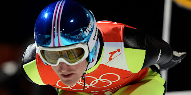 Germany's Severin Freund gets ready before the Men's Ski Jumping Large Hill Official training jump at the RusSki Gorki Jumping Center during the Sochi Winter Olympics on February 12, 2014 in Rosa Khutor near Sochi .     AFP PHOTO / PETER PARKS        (Photo credit should read PETER PARKS/AFP/Getty Images)