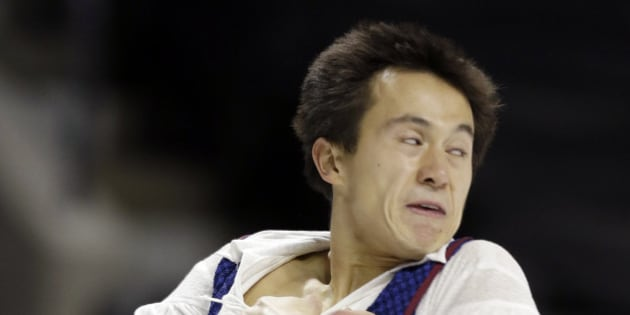 Patrick Chan of Canada performs during the men's free skate program at the World Figure Skating Championships Friday, March 15, 2013, in London, Ontario. (AP Photo/Darron Cummings)