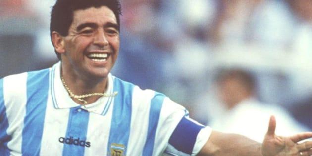 BOSTON, UNITED STATES - JUNE 25:  WORLD CUP 1994, Boston; ARGENTINIEN - NIGERIA (ARG - NGR) 2:1; Diego MARADONA/ARG  (Photo by Michael Kunkel/Bongarts/Getty Images)