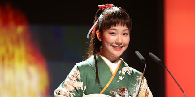 BERLIN, GERMANY - FEBRUARY 15:  Haru Kuroki receives the Silver Bear for Best Actress during the closing ceremony during 64th Berlinale International Film Festival at Berlinale Palast on February 15, 2014 in Berlin, Germany.  (Photo by Sean Gallup/Getty Images)