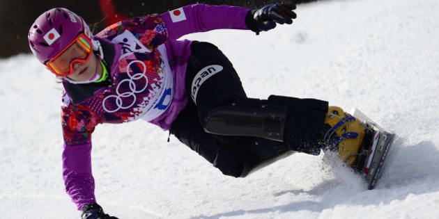 Japan's Tomoka Takeuchi competes in the Women's Snowboard Parallel Giant Slalom Semifinals at the Rosa Khutor Extreme Park during the Sochi Winter Olympics on February 19, 2014.      AFP PHOTO / JAVIER SORIANO        (Photo credit should read JAVIER SORIANO/AFP/Getty Images)
