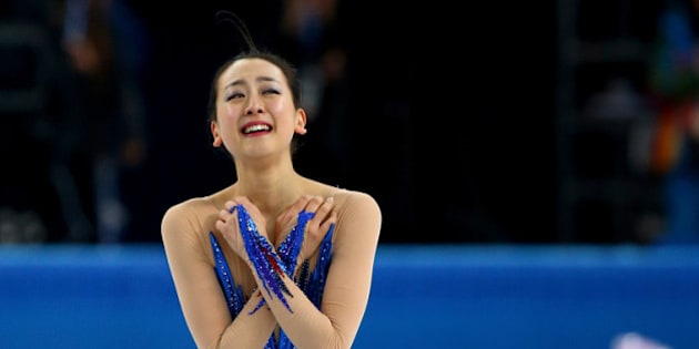 SOCHI, RUSSIA - FEBRUARY 20:  Mao Asada of Japan reacts after competing in the Figure Skating Ladies' Free Skating on day 13 of the Sochi 2014 Winter Olympics at Iceberg Skating Palace on February 20, 2014 in Sochi, Russia.  (Photo by Ryan Pierse/Getty Images)