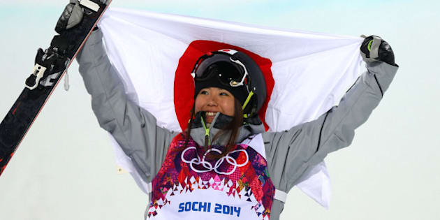 SOCHI, RUSSIA - FEBRUARY 20:  Bronze medalist Ayana Onozuka of Japan celebrates during the flower ceremony in the Freestyle Skiing Ladies' Ski Halfpipe Finals on day thirteen of the 2014 Winter Olympics at Rosa Khutor Extreme Park on February 20, 2014 in Sochi, Russia.  (Photo by Mike Ehrmann/Getty Images)