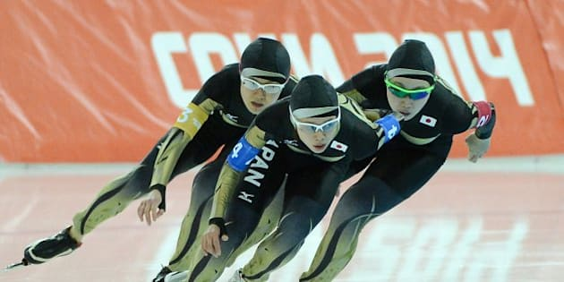 Japan's Misaki Oshigiri (2), Maki Tabata (3) and Nana Takagi (4) skate during the quarterfinals of the ladies team pursuit at Adler Arena at the Winter Olympics in Sochi, Russia, Friday, Feb. 21, 2014. (Chuck Myers/MCT via Getty Images)