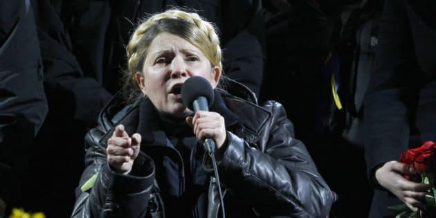 KIEV, UKRAINE - FEBRUARY 22:  Former Ukrainian Prime Minister Yulia Tymoshenko delivers a speech at the Independence Square after her release in the capital in Kiev, Ukraine on February 22, 2014. Tymoshenko, who was in prison since August 2011, was convicted and sentenced to seven years imprisonment for abusing her powers as prime minister by ordering Ukrainian Naftogaz to sign a gas deal with Russia in 2009. (Photo by Bulent doruk/Anadolu Agency/Getty Images)