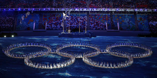 SOCHI, RUSSIA - FEBRUARY 23:  Performers make the shape of the Olympic Rings during the 2014 Sochi Winter Olympics Closing Ceremony at Fisht Olympic Stadium on February 23, 2014 in Sochi, Russia.  (Photo by Matthew Stockman/Getty Images)