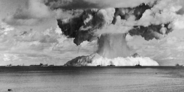 UNITED STATES - JULY 24:  On July 24, 1946, The American Army Dropped The 5Th Atomic Bomb Above Bikini Atoll In The Pacific Ocea, Off The Coast Of The Marshall Islands. The Row Of Ships In The Background Was Used To Test Radioactive Fallout.  (Photo by Keystone-France/Gamma-Keystone via Getty Images)