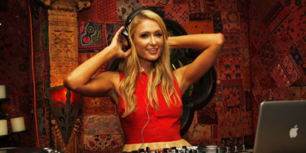 HOLLYWOOD, CA - FEBRUARY 14: Paris Hilton DJ's at Mending Kids International's 'Rock & Roll All-Stars' Fundraising Event on February 14, 2014 in Hollywood, California. (Photo by Michael Bezjian/WireImage)