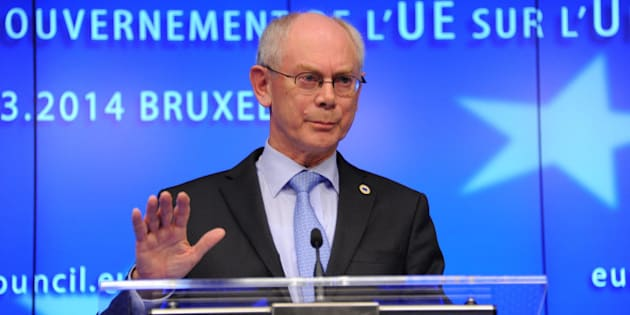 BRUSSELS, BELGIUM - MARCH 6: European Council President Herman Van Rompuy gives a speech after an emergency summit about the situation in Ukraine at the European Union Council Building in Brussels, Belgium, on March 6, 2014.  (Photo by Dursun Aydemir/Anadolu Agency/Getty Images)