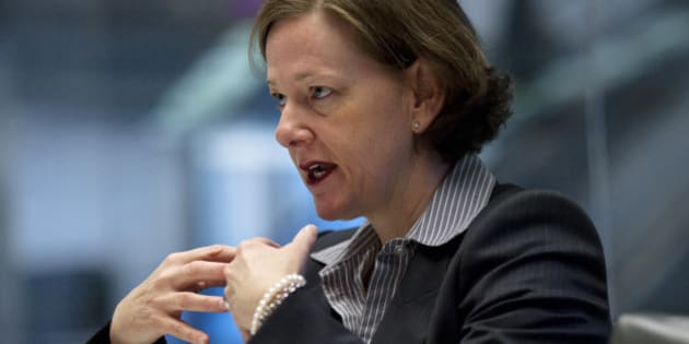 Alison Redford, premier of Canada's Alberta province, speaks during an interview in New York, U.S., on Thursday, March 8, 2012. Redford is counting on greater cooperation between Canada, the U.S. and other countries in the Americas to speed economic development and energy projects like TransCanada Corp.'s Keystone XL pipeline and wind farms. Photographer: Victor J. Blue/Bloomberg via Getty Images