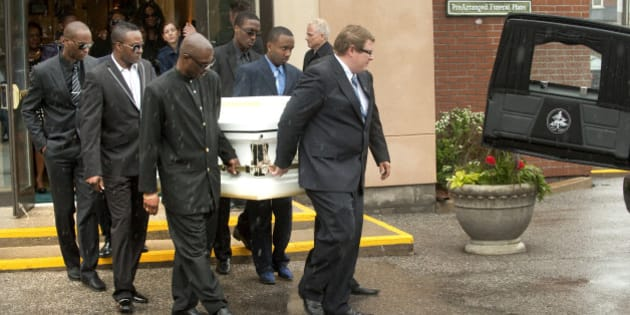 04 June 2011 memorial service for Shakeil Boothe,10, who died after a severe beating. In this pic, casket leaves funeral home . Photo Keith Beaty (Photo by Keith Beaty/Toronto Star via Getty Images)