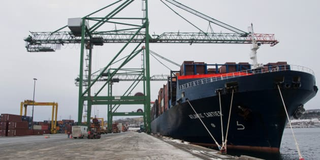 An Atlantic Container Line (ACL) ship sits docked at the Port Of Halifax's Fairview Cove container terminal, operated by Cerescorp Co., in Halifax, Nova Scotia, Canada, on Wednesday, Jan. 30, 2013. Statistics Canada (STCA) is scheduled to release gross domestic product data on Jan. 31. Photographer: Aaron McKenzie Fraser/Bloomberg via Getty Images