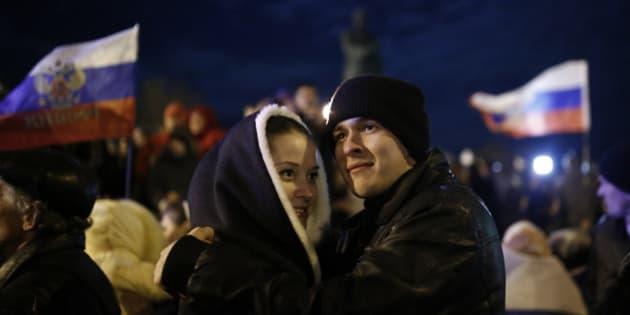 SIMFEREPOL, UKRAINE - MARCH 16: After finishing the referendum in Crimea, Pro-Russian people make celebrations at Lenin Square in Simferepol, Ukraine. (Photo by Bulent Doruk/Anadolu Agency/Getty Images)