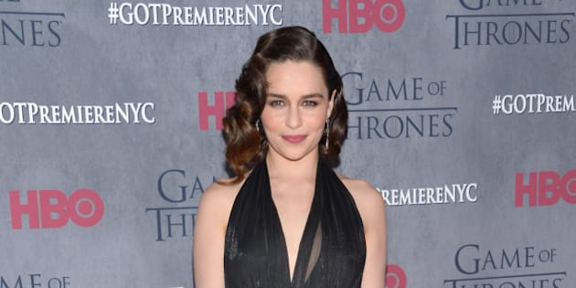 """Emilia Clarke arrives at the New York Premiere of """"Game of Thrones"""" Fourth Season on Tuesday, March 18, 2014, in New York. (Photo by Evan Agostini/Invision/AP)"""