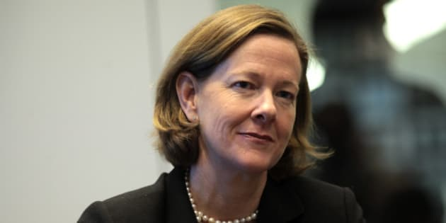 Alison Redford, premier of Canada's Alberta province, listens during an interview in New York, U.S., on Tuesday, Nov. 15, 2011. Redford told reporters in Washington yesterday she doesn't have 'any reason' to believe the U.S. government's review of the Keystone XL pipeline will lead to an 'adverse' outcome. Photographer: Stephen Yang/Bloomberg via Getty Images