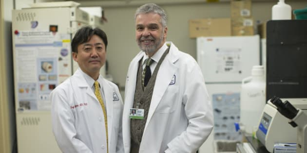 BOSTON - JANUARY 28: Dr. Charles Vacanti, right, stood with Dr. Koji Kojima, Scientific Director of Laboratories for Tissue Engineering and Regenerative Medicine in the laboratory at Brigham and Women's Hospital in Boston, MA on Tuesday, January 28, 2014. Vacanti has been at the vanguard of stem cell creation. A team of Boston and Japanese researchers stunned the scientific world Wednesday by revealing a remarkably simple and unexpected way to create stem cells that can become any of the diverse cell types in the body. Dr. Kojim co-authored the paper published in the journal Nature. (Photo by Yoon S. Byun/The Boston Globe via Getty Images)
