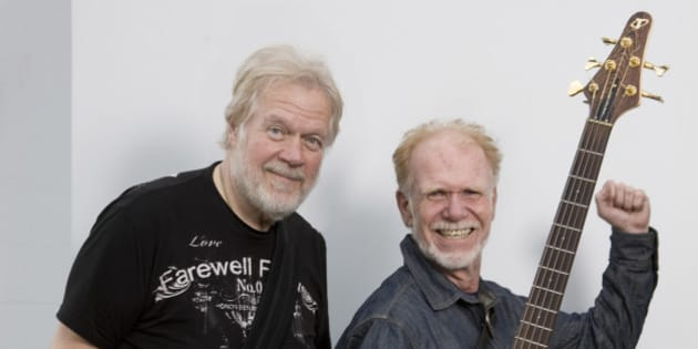 LONDON - 9th JUNE: Randy Bachman (left) and Fred Turner (right) of Canadian group Bachman & Turner (formerly Bachman Turner Overdrive) posed in Covent Garden, London on 9th June 2010. (Photo by Mike Prior/Redferns)