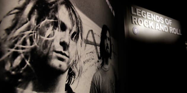 CLEVELAND, OHIO - Nov.31, 2013: Kurt Cobain is picture to the entrance of the Legends of Rock and Roll exhibit The Rock and Roll Hall of Fame and Museum in Cleveland, Ohio.  This is a story about Voices for Yes, a bi-partisan effort on behalf of Democrats and Republicans to get the rock band Yes into the Roll Hall of Fame, which had been snubbed by the nominating committee since 1995 until this year. It's the brainchild of John Brabender, who ran Rick Santorum's presidential campaign, and Tad Devine, who was a senior advisor to John Kerry's and Al Gore's bids for the White House. It is a look at the Rock and Roll Hall of Fame, how it operates, and the band Yes, who was the most successful of the progressive rock bands of the 1970s, who has always had a passionate fan base but never quite the critics' darlings. (Photo by Lisa DeJong/For the Washington Post)