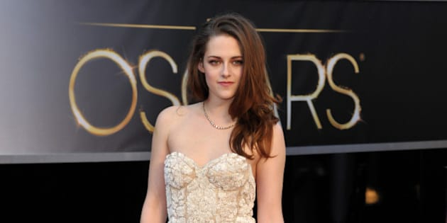 Actress Kristen Stewart arrives at the Oscars at the Dolby Theatre on Sunday Feb. 24, 2013, in Los Angeles. (Photo by John Shearer/Invision/AP)