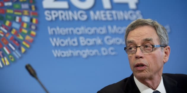 Joe Oliver, Canada's finance minister, speaks at a news conference during the International Monetary Fund (IMF) and World Bank Group Spring Meetings in Washington, D.C., U.S., on Friday, April 11, 2014. Global finance chiefs pressed the U.S. to allow an increase in the financial resources of the International Monetary Fund as they argued the Ukraine crisis underscores the lender's importance. Photographer: Andrew Harrer/Bloomberg via Getty Images