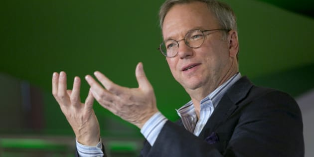 Eric Schmidt, chairman of Google Inc., speaks during a Google Big Tent event in Washington, D.C., U.S., on Friday, April 26, 2013. Google, owner of the worlds most popular Internet search engine, this month reported profit that topped analysts estimates as advertisers increased spending on mobile and video promotions. Photographer: Andrew Harrer/Bloomberg via Getty Images