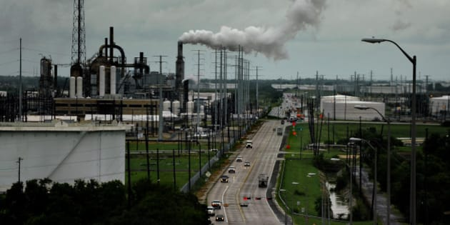 PORT ARTHUR, TEXAS - SEPT12:  The Valero refinery looms on the horizon in Port Arthur Texas. Port Arthur, Texas is the end of the line for oil that would travel through the proposed Keystone XL Pipeline. (Photo by Michael S. Williamson/The Washington Post via Getty Images