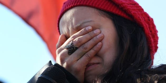 WINDSOR ON - JANUARY 16: Destiny Phillips gets emotional after speaking as 'Idle no more' protesters trally at the base of  the Ambassador Bridge between Windsor and the United States. at  in Windsor.  January 16, 2013  STEVE RUSSELL/TORONTO STAR        (Steve Russell/Toronto Star via Getty Images)