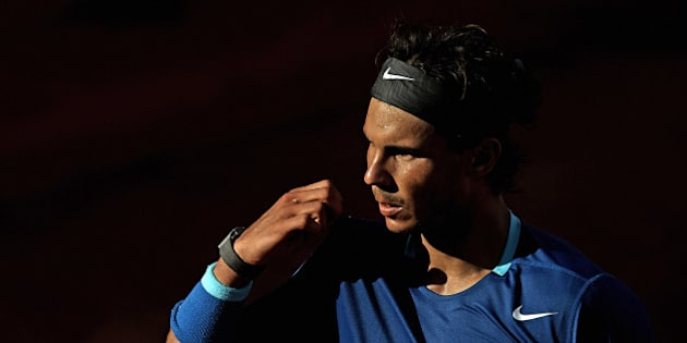 BARCELONA, SPAIN - APRIL 25:  Rafael Nadal of Spain looks on in his match against Nicolas Almagro of Spain during day five of the ATP Barcelona Open Banc Sabadell at the Real Club de Tenis Barcelona on April 25, 2014 in Barcelona, Spain.  (Photo by fotopress/Getty Images)
