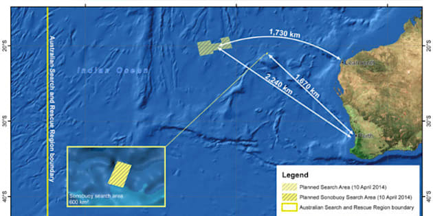 CANBERRA, AUSTRALIA - APRIL 10 :  A handout image released by the Australian Maritime Safety Authority (AMSA) in Canberra, Australia, 10 April 2014, shows the search area in the Indian Ocean, West of Australia, where 14 planes and 13 ships are scouring a 57,923 square km area of ocean for the wreckage of flight MH370 on 10 April 2014. Flight MH370 went missing after losing radio contact with Malaysian and Vietnamese air traffic control after leaving Kuala Lumpur International Airport on March 8. The Beijing-bound flight carried 239 passengers including 12 flight crew from 14 different countries. (Photo by AMSA/Anadolu Agency/Getty Images)