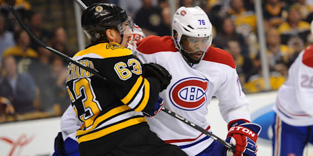 BOSTON, MA - MAY 1:  P.K. Subban #76 of the Montreal Canadiens skates against Brad Marchand #63 of the Boston Bruins in Game One of the Second Round of the 2014 Stanley Cup Playoffs at TD Garden on May 1, 2014 in Boston, Massachusetts. (Photo by Brian Babineau/NHLI via Getty Images)