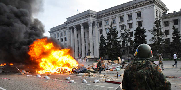 ODESSA, UKRAINE - MAY 2: According to official information, 38 people died in a fire and 30 others were poisoned by carbon monoxide, in a building, during a clash, started between pro-Russian and pro-Ukrainian activists in the centre of Odessa and moved to the Kulikovo field, an area in which the pro-Russian activists' camp was situated and then was captured by pro Ukrainian activists, in Odessa, Ukraine, on May 2, 2014. 50 people, including 10 policemen, asked for medical care during the clashes. (Photo by Maksym Voytenko/Anadolu Agency/Getty Images)