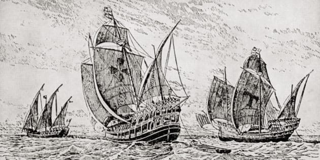 The Fleet Of Columbus, The Santa Maria, The Pinta And The Nina. Christopher Columbus C.1451 To 1506. Italian Navigator, Colonizer And Explorer. From The Great Explorers Columbus And Vasco Da Gama. (Photo by: Universal History Archive/UIG via Getty Images)
