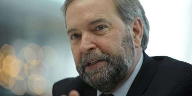 Tom Mulcair, leader of Canada's main opposition New Democratic Party, speaks during an interview in New York, U.S., on Thursday, March 14, 2013. During a visit to Washington this week Mulcair told U.S. lawmakers and executives that he opposes the Keystone XL oil pipeline, according to the Edmonton Journal.  Photographer: Peter Foley/Bloomberg via Getty Images