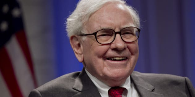 Warren Buffett, chairman of Berkshire Hathaway Inc., laughs during an interview at the Economic Club of Washington dinner event in Washington, D.C., U.S., on Tuesday, June 5, 2012. Buffett said he doesn't expect another U.S. recession unless Europe's crisis spreads. Photographer: Andrew Harrer/Bloomberg via Getty Images
