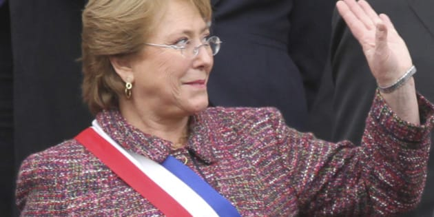 VALPARAISO, CHILE - MAY 21:  President of Chile Michelle Bachelet, waves to the audience before delivering the annual presidential message to the Nation