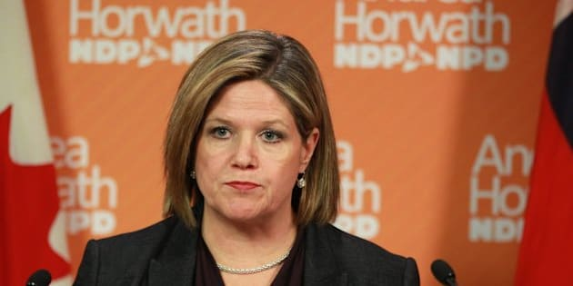 In the Queen's Park media studio Andrea Horwath gives his comment on Don Drummond's Commission on the Reform of Ontario's Public Services that he delivered earlier in the Ontario Room in the MacDonald Block at Queen's Park in Toronto. The report is 543 pages long and the Summary is 125 pages. February 15, 2012. STEVE RUSSELL/TORONTO STAR (Photo by Steve Russell/Toronto Star via Getty Images)