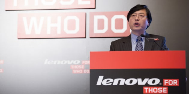 Yang Yuanqing, chairman and chief executive officer of Lenovo Group Ltd., speaks during a news conference in Hong Kong, China, on Wednesday, May 21, 2014. Lenovo, the world's largest maker of personal computers, reported a 25 percent jump in fourth-quarter profit as its desktop models and mobile devices gained global market share. Photographer: Brent Lewin/Bloomberg via Getty Images