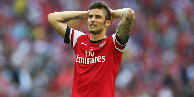 LONDON, ENGLAND - MAY 17:  Olivier Giroud of Arsenal reacts during the FA Cup with Budweiser Final match between Arsenal and Hull City at Wembley Stadium on May 17, 2014 in London, England.  (Photo by Paul Gilham/Getty Images)