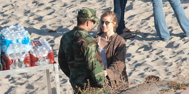 LOS ANGELES, CA - JUNE 04: Bradley Cooper and Suki Waterhouse are seen on the set of 'American Sniper' in Malibu, California on June 04, 2014 in Los Angeles, California.  (Photo by GONZALO/Bauer-Griffin/GC Images)